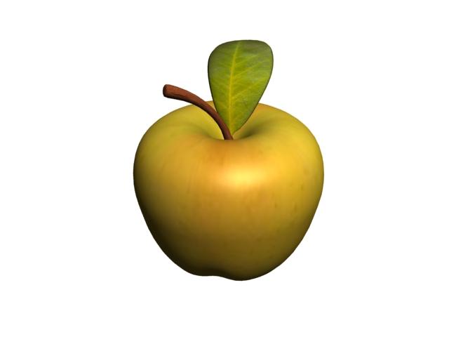 Apple and leaf 3d rendering