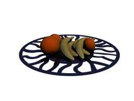 A platter of fruit 3d model preview