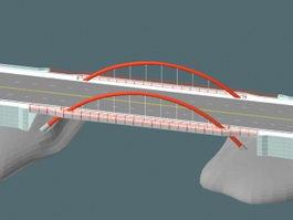 Arch cantilever bridge 3d model preview