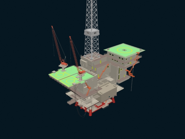 Offshore floating drilling 3d rendering