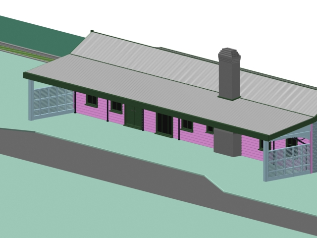 Railway freight station 3d rendering