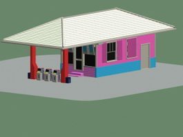 Small gas station 3d preview
