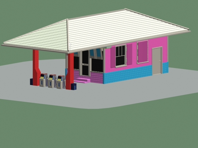 Small gas station 3d rendering