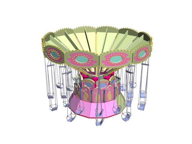 Amusement ride swing carousel 3d rendering