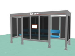 Bus stop shelter 3d preview