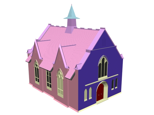 Gothic cathedral church 3d rendering