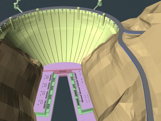River dam 3d rendering