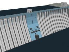 Concrete overflow dam 3d model preview