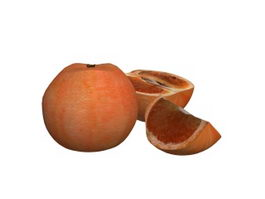 Grapefruit with slice 3d preview
