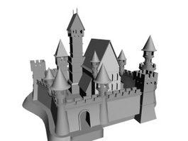 Ancient castle architecture 3d model preview