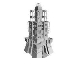 Main building of castle 3d model preview