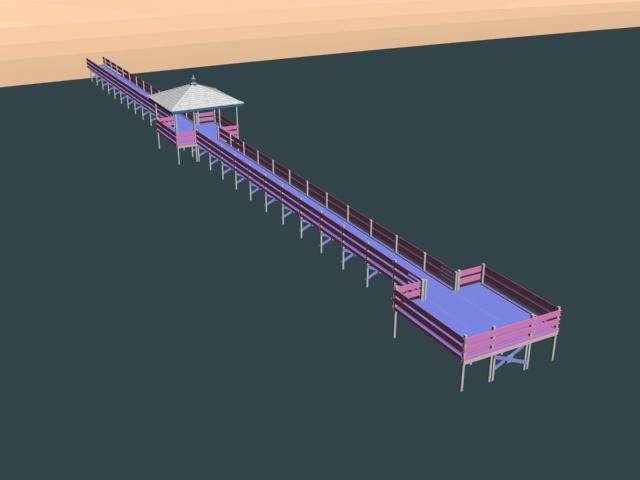 Sea beach pier 3d rendering