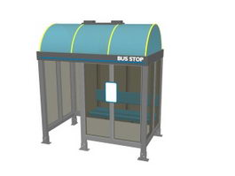 City bus stop shelter 3d preview