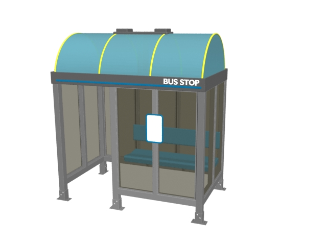 City bus stop shelter 3d rendering