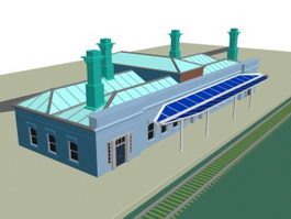 Railway passenger station 3d preview