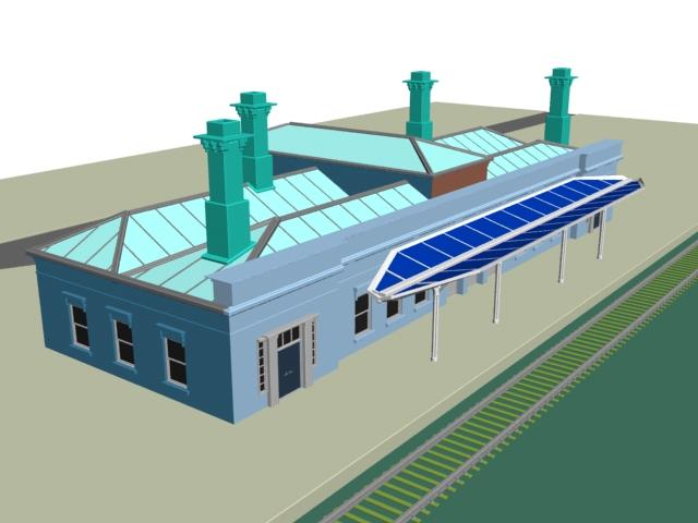 Railway passenger station 3d rendering