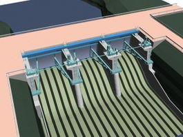 Hydraulic building dam 3d preview