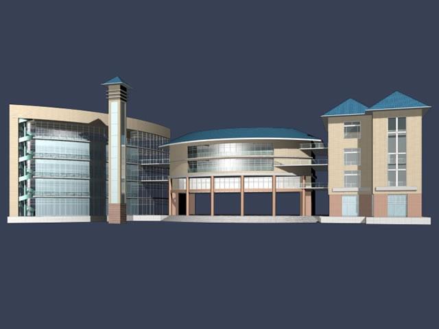 Large public building 3d rendering