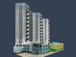 High rise apartment residential building 3d preview