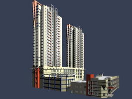High rise residence apartment house 3d preview