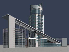 High-grade commercial office buildings 3d model preview