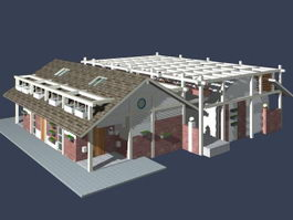 Holiday terraced house 3d model preview