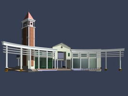 Museum architecture 3d preview