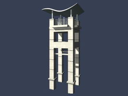 Modern clock tower 3d preview