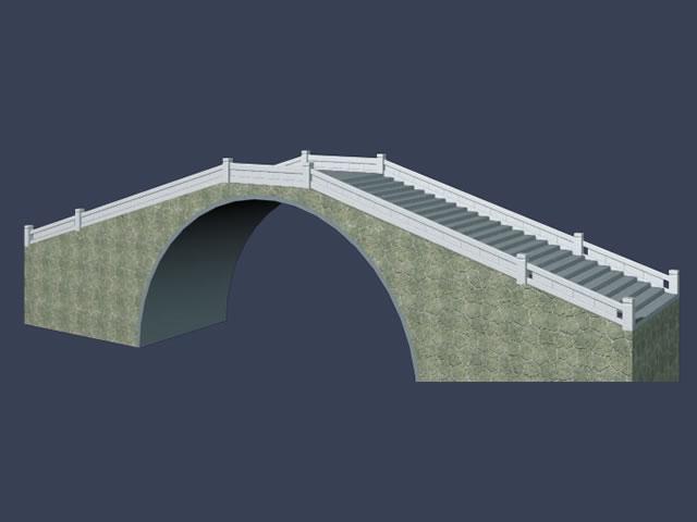 Stone arch bridge 3d rendering