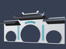 Ancient building front door 3d model preview