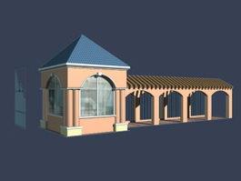 Entrance doors and corridors 3d model preview