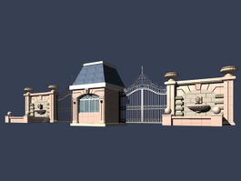 Entrance door of gated community 3d preview