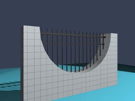 Masonry and metal fence 3d preview