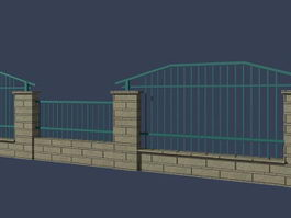 Metal garden fence 3d preview