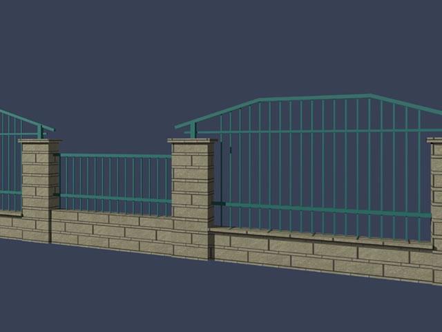 Metal garden fence 3d rendering