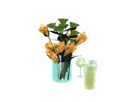 Flower decoration and glass 3d model preview