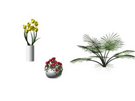 Flower ornaments with vase 3d model preview
