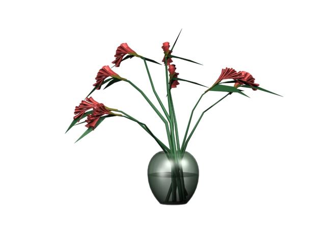 Indoor hydroponics flower 3d rendering