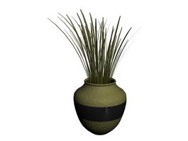 Decorative plant and vase 3d preview