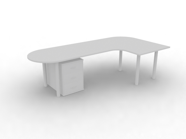 Office workstation table and cabinet 3d rendering