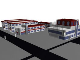 Commercial architectural complex 3d preview