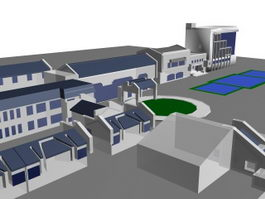Factory architectural complex 3d preview