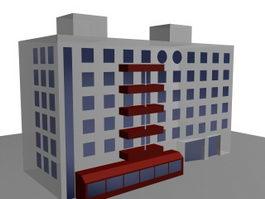 Apartment building 3d model preview