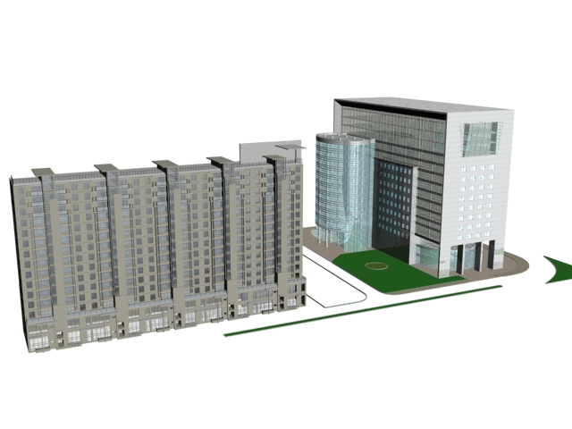 Commercial and residential complex 3d rendering