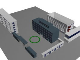 School buildings and sports fields 3d preview