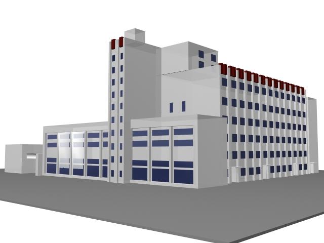 Comprehensive office building 3d rendering
