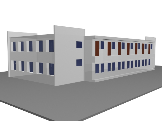 Experimental building for school 3d rendering