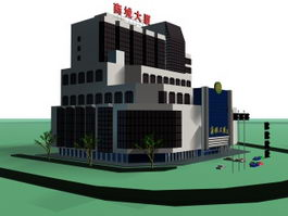 Apartments and commercial building 3d model preview