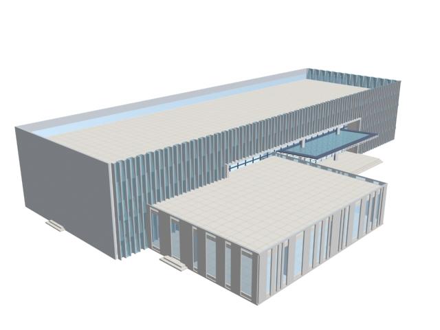 Supermarket building 3d rendering
