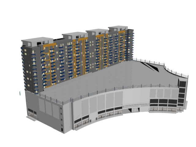 Multiple-story building for civil use 3d rendering